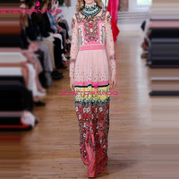 Women Floral Print Gems Beading Vintage Long Dress Ladies Casual Office Formal Ball Party Boho Maxi