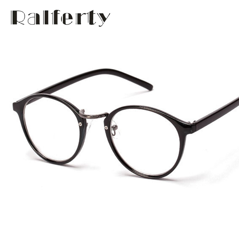 Ralferty Fashion Vintage Myopia Optic Eyeglasses Frames Women's Utra-light Circle Glasses Frame With Lens Round Oculos Black 137