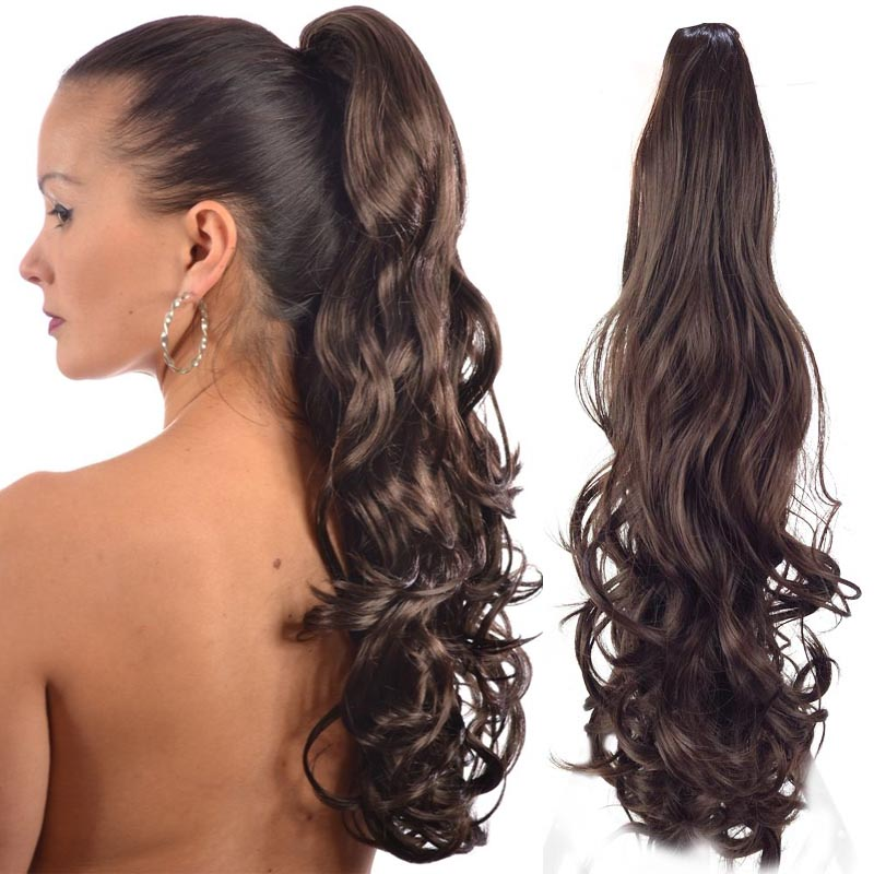 20 Long Wavy Claw Clip Drawstring Ponytail Fake Hair Extensions