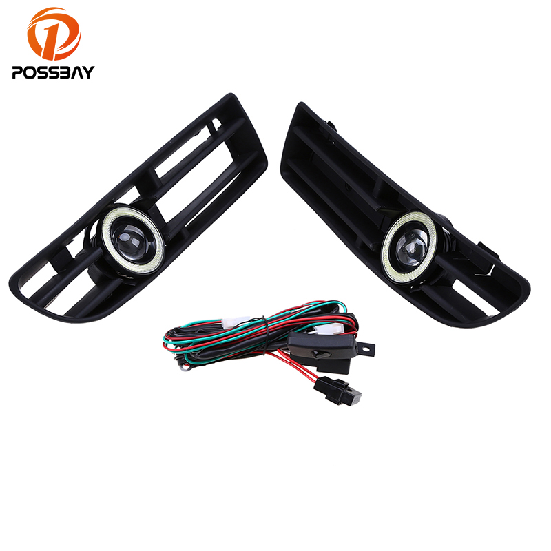 POSSBAY Car Fog Light for VW JETTA BORA MK4 A4 Front Lower Bumper Grille LED Fog Lights With Lens Halo Angel Eyes Rings dwcx 1j5853665b 1j5853666c front lower grille bumper vent for volkswagen vw jetta bora mk4 1999 2000 2001 2002 2003 2004
