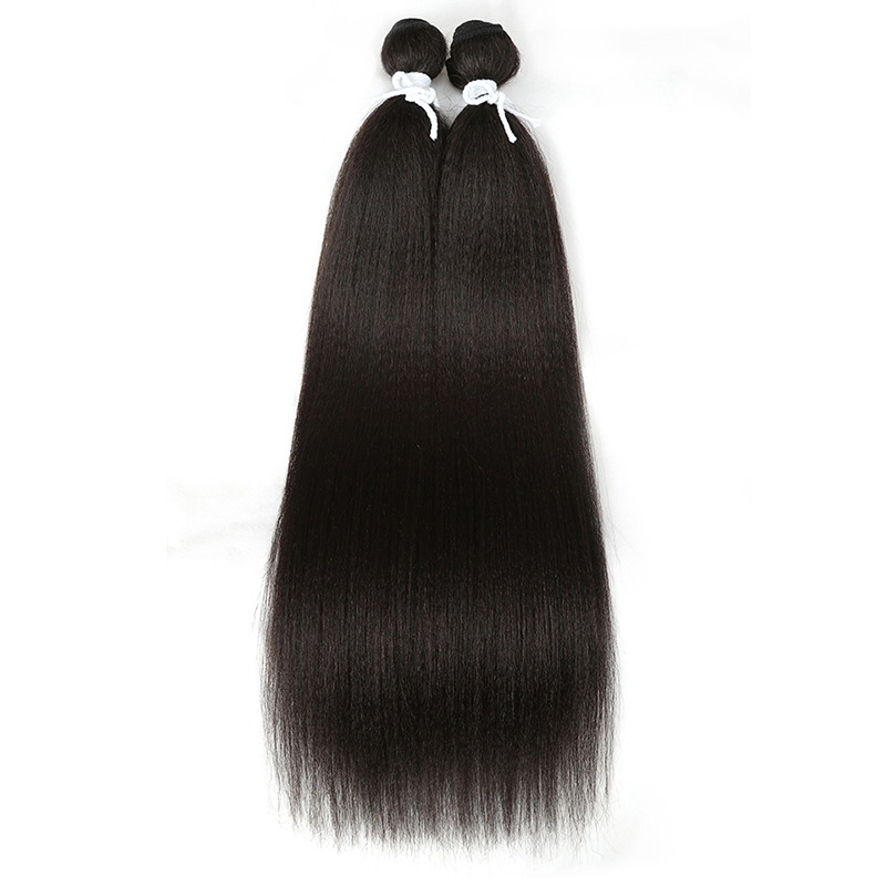 Magic Synthetic Weave Hair-Bundles Yaki Long-Hair Straight High-Temperature-Fiber Black