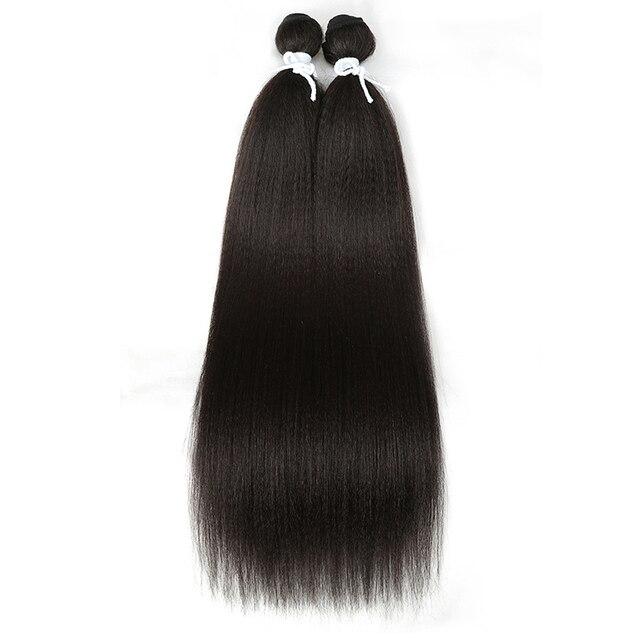 Magic Straight Synthetic Weave 2 Pcs/lot Natural Yaki Hair Bundles Black Long Hair Weaving 22 Inch High Temperature Fiber