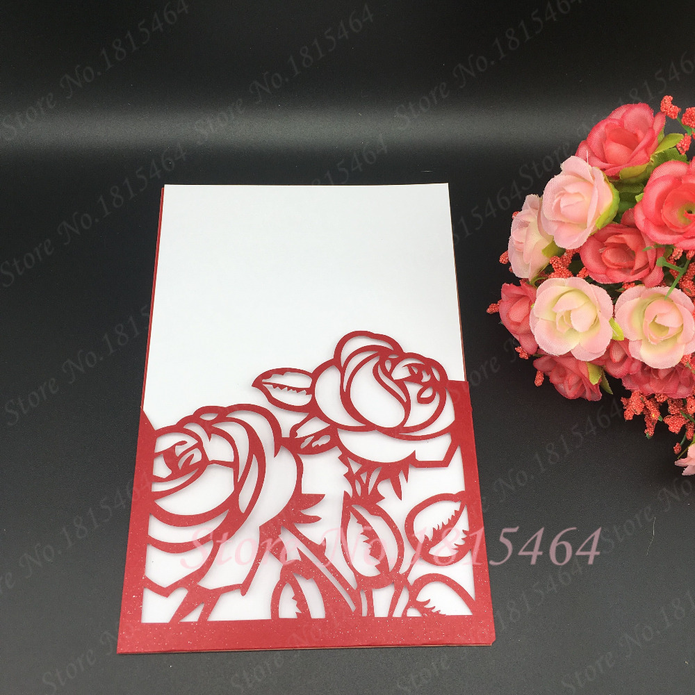 50pcs Paper Invitations Cards Laser Cut Rose Flower Wedding ...