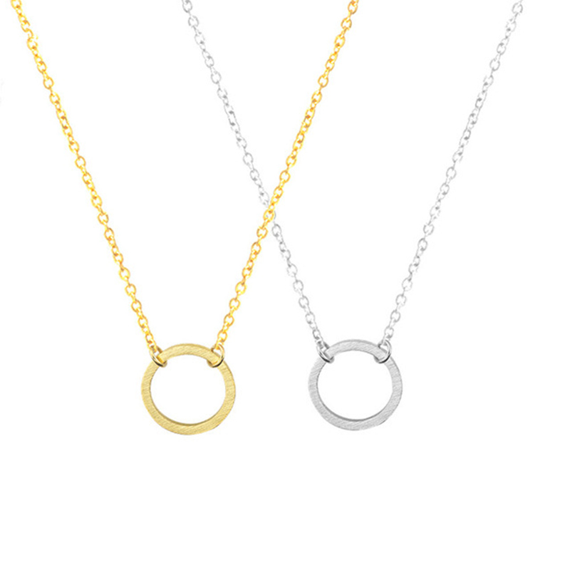 Stainless Steel Simple Dainty Empty Circle Round Karma Necklace For Women Minimalist Jewelry Circle Necklaces Party Gift