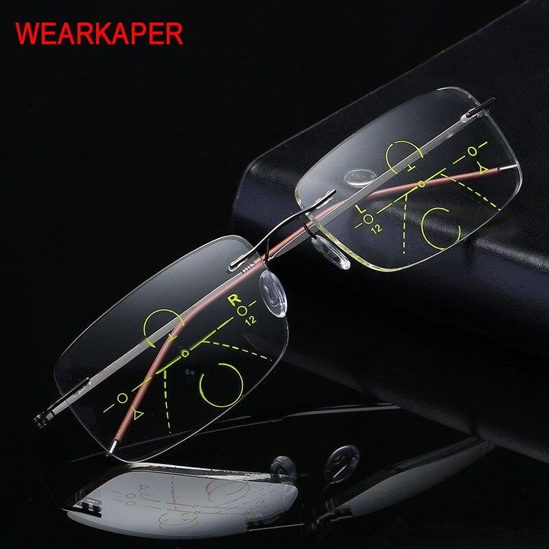 2020 New Titanium Men Women Progressive Reading Glasses With Glasses Case Metal Rimless Bifocal Multifocal Lens Glasses