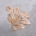 Exquisite Micro Pave Zircon Ring Tree Flower Leaf Shape Rings For Women Copper Gold Plated Elegant Party Anillos Bijouterie