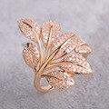 Exquisite micro pave zircon anel flor da árvore folha forma anéis para as mulheres de cobre banhado a ouro elegante partido anillos bijuteria