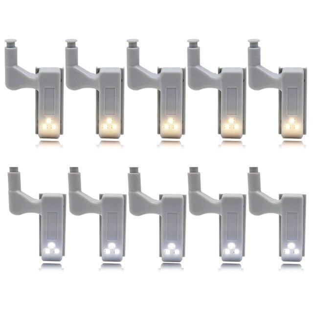 10pcs 0.25W Hinge LED Night Light Lamp Kitchen Bedroom Living Room Cabinet Cupboard Closet Wardrobe Lighting Home Decoration