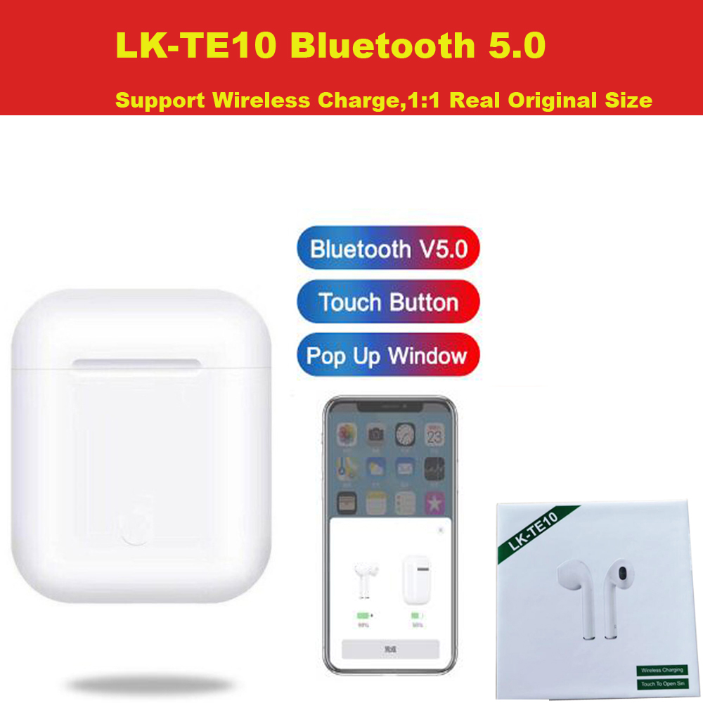 LK-TE10 <font><b>TWS</b></font> Pop up <font><b>Bluetooth</b></font> <font><b>5.0</b></font> Wireless Earphone Support Wireless Charging Earbuds 3D Stereo Bass Pk <font><b>i10</b></font> i20 i30 LK-TE9 image