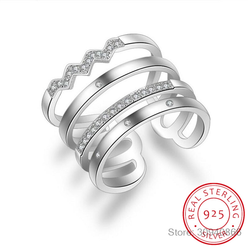 Korean Style 925 Sterling Silver Opening Rings Personality Exaggerated Multi-layer Mosaic Zirconia Rings For Women S-<font><b>R308</b></font> image