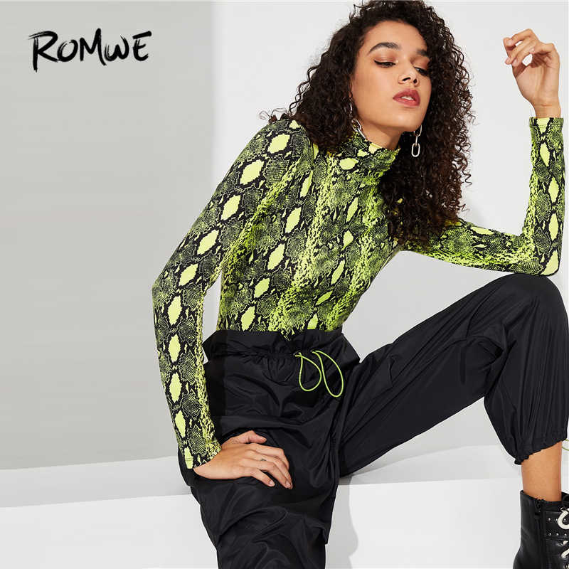 ed200fe601b31 ROMWE High Neck Neon Snakeskin Tee 2019 Stylish Slim Fit Womens Clothing  Tops Spring Autumn Chic