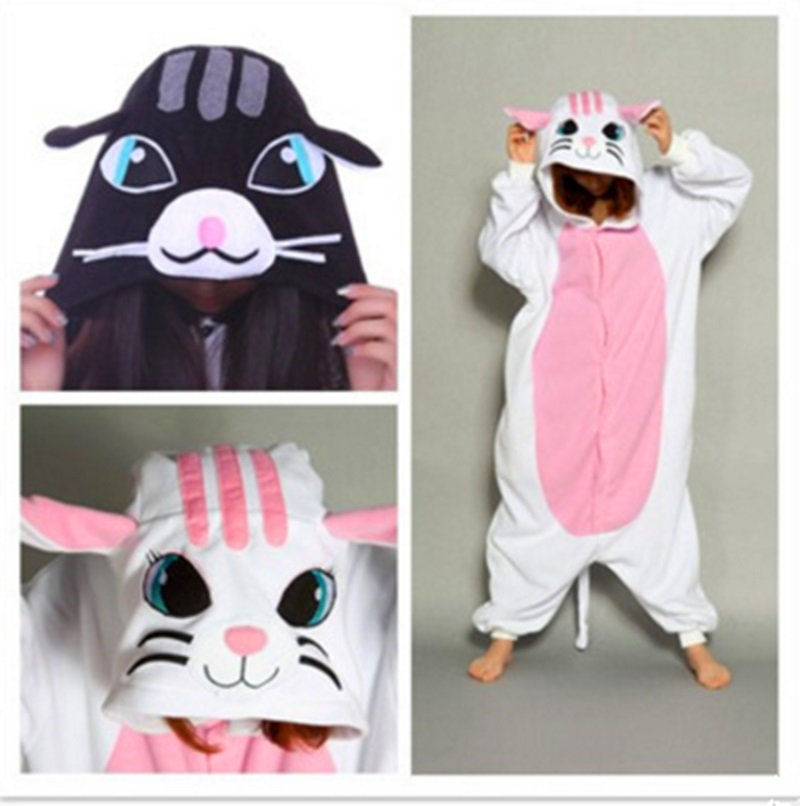 Popular fashion new black cat white cat long sleeve home dress cartoon pajamas.