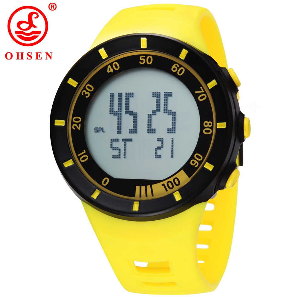 Hot Sale New Ohsen Brand LED Digital Display Man Women Outdoor Fun Sport Watches 30M Waterproof Diving Yellow Fashion Watches