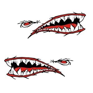 Image 2 - 2 Pcs Denti di Squalo Bocca Sticker Bocca Dei Pesci Sticker Barca Da Pesca Canoa Auto Camion Barca Kayak Gonfiabile In Vinile Adesivi Accessori