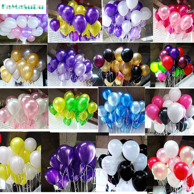 20pcs Lot 10 Inch12g Latex Balloon Helium Round Balloons 16colors Thick Pearl Wedding Party Birthday