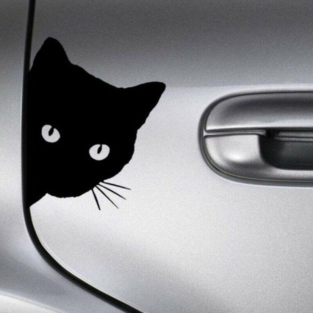 Креативные Черные кошачьи наклейки на лицо автомобиля Автомобильная наклейка украшение окна Светоотражающая наклейка оконная дверная наклейка