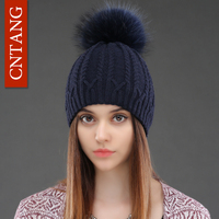 Women Double Deck Knitted Wool Hat Winter Natural Raccoon Fur Warm Caps Female Pom Pom Hats