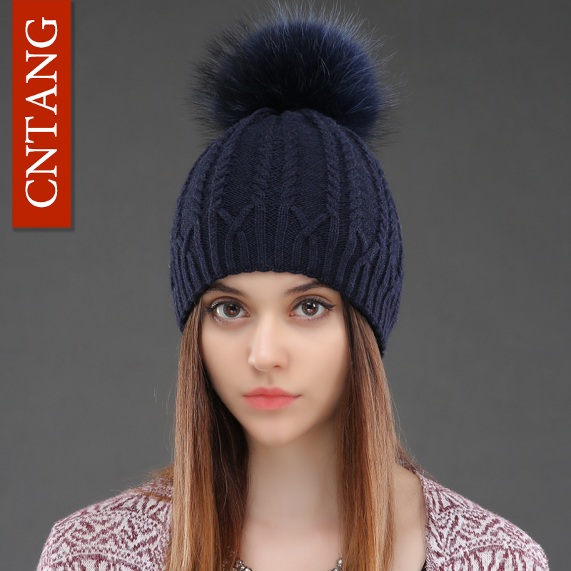 Women Double Deck Knitted Wool Hat Winter Natural Raccoon Fur Warm Caps Female Pom Pom Hats Ladies Fashion   Skullies     Beanies   Cap