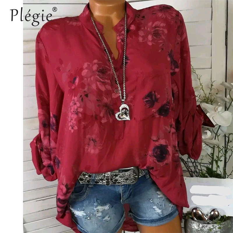 Plegie Floral Print Women Blouse Summer Top Plus Size Long Sleeve Shirt  Harajuku Printed Blusa Feminina Womens Tops And Blouses 1