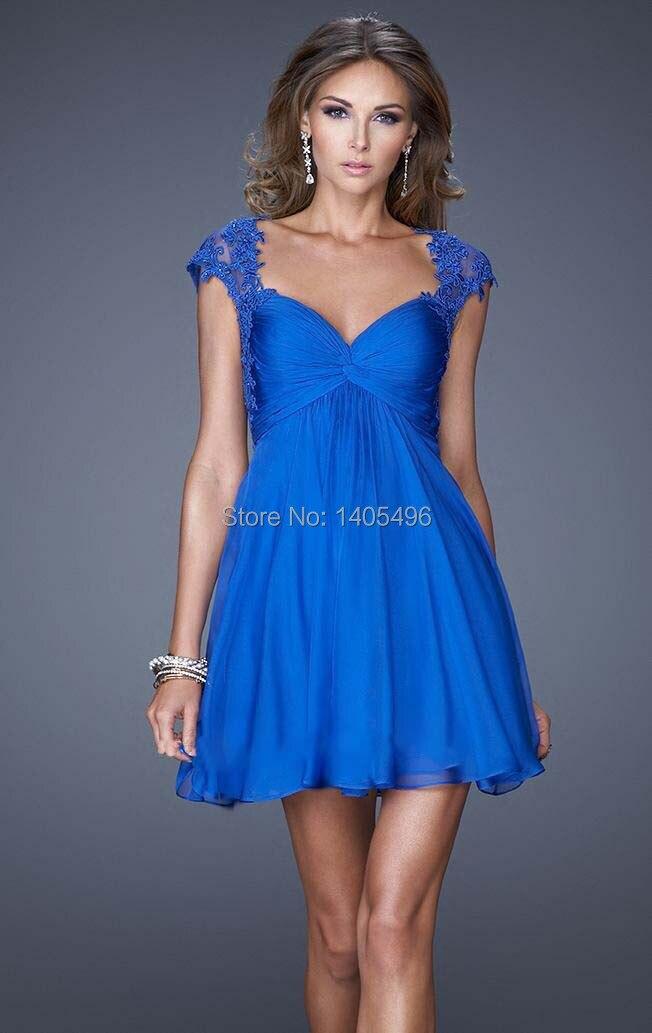 Vestido de fiesta azul francia corto