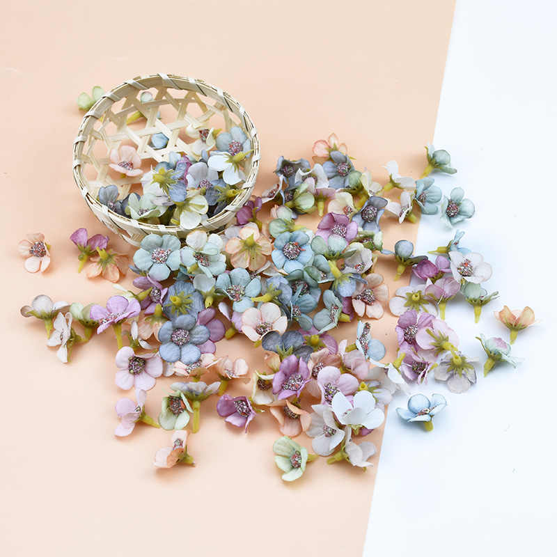 50pcs 2cm Multicolor Daisy Flower Head Mini Silk Artificial Flower wall for Crown Scrap Wedding Home Decor DIY Garland Headdress