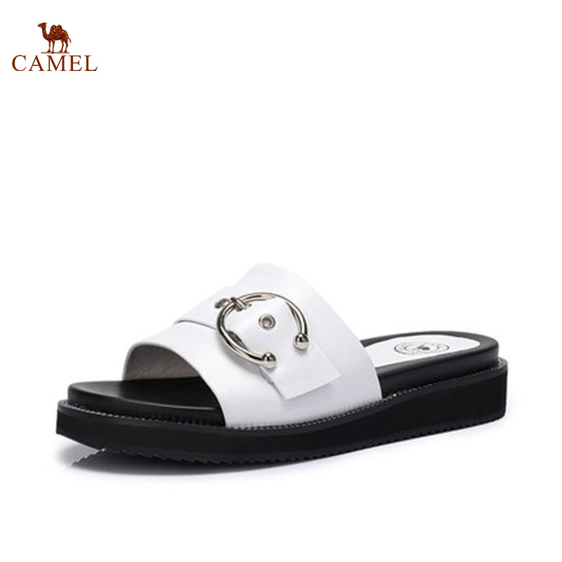 CAMEL Women Casual Outdoor Slippers 2018 Summer New Fashion Casual Flat Sandals Leather Metal Round Flat Slippers цена 2017