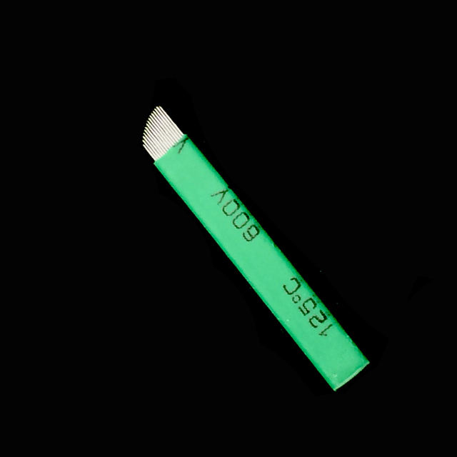 0.16mm Green Nano LAMINA MICRO 12 FLEX  CHANFRADA Microblading Needles  For Tebori Microblading Permannet Manual Pen