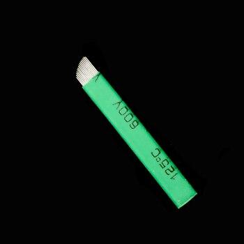 Aiguilles de Microblading de MICRO 12 FLEX CHANFRADA de nano-lamine verte de 0.16mm pour le stylo manuel permanent de Microblading de Tebori