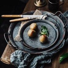 Европейский ручной работы Античный Декоративный металл лотки с ручками круглая металлическая ремень лоток для хранения поднос украшения дома