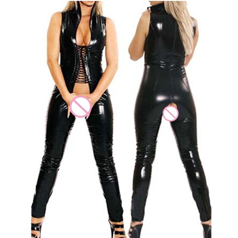 New Women Sexy Costumes Black Faux Leather Latex Catsuit Clubwear Open Crotch Bodysuit Sex Fetish Bondage Harness Costumes M7186