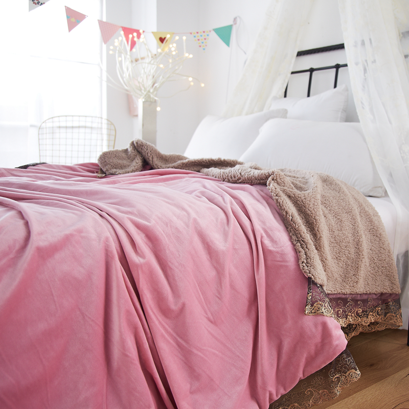 Powder Pink Double Blanket Embroidered Lace Throw Blanket/Fleece Blanket On The Bed Soft Autumn/Spring Upgraded Flannel Blanket Powder Pink Double Blanket Embroidered Lace Throw Blanket/Fleece Blanket On The Bed Soft Autumn/Spring Upgraded Flannel Blanket