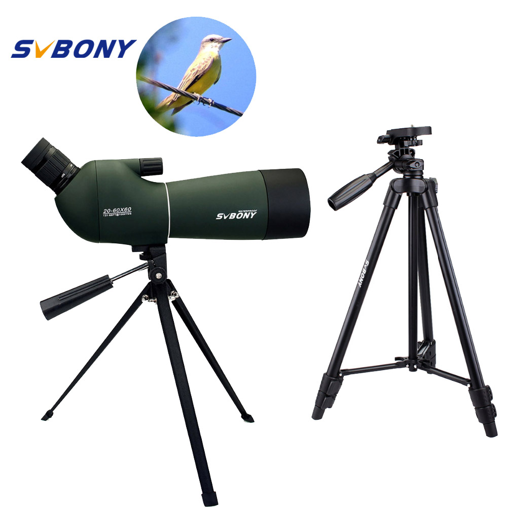 SVBONY SV28 Spotting Scope Zoom Telescope 50/60/70mm Waterproof +2 Tripods Soft Case Monocular Telescope F9308 цена