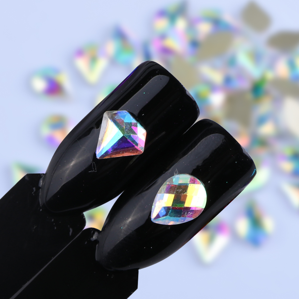 10pcs/lot Nail Decoration Rhinestone Gem Holographic Glitter Crystal Shaped Stone For 3D Nail Art Charming Tips Manicure SA532 blingbling nail glitter ab crystal glass nail art caviar beads 3d pixie mermaid nail tips manicure decoration
