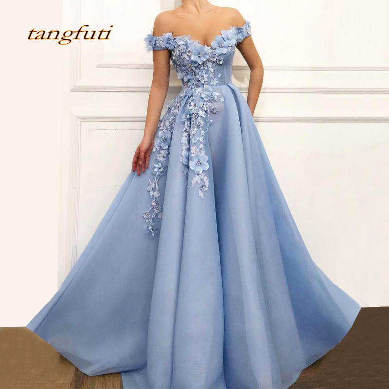 Long   Evening     Dress   2019 New Arrival V-neck Vintage 3D Flowers Lace Arabic Blue Women Formal   Evening   Party Gowns Prom Party