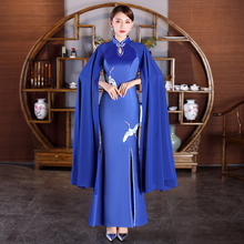 Chinese style women Sexy Evening Dresses Long sleeve Qipao Red Blue lady vestido Open Slit Modern Party oriental  gown