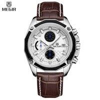 MEGIR Men Quartz Chronograph Multifunction Waterproof Genuine Leather Hot Sale Casual Watches Military Watches Relogio Masculino