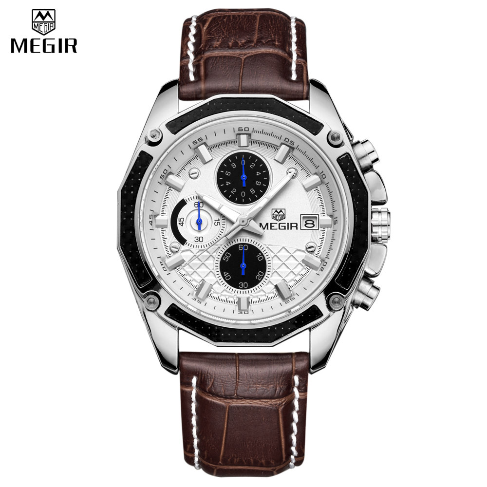 MEGIR 2017 Fashion Creative Sport Waterproof quartz watch Men Casual Leather Brand Wristwatch Luminous Stop Wristwatch for Male megir fashion sport quartz watches men casual leather brand wristwatch man hot waterproof luminous stop watch for male hour 2015