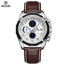 MEGIR Men Quartz Chronograph Multifunction Waterproof Genuine Leather Hot Sale Casual Watches Military Watches Relogio Masculino