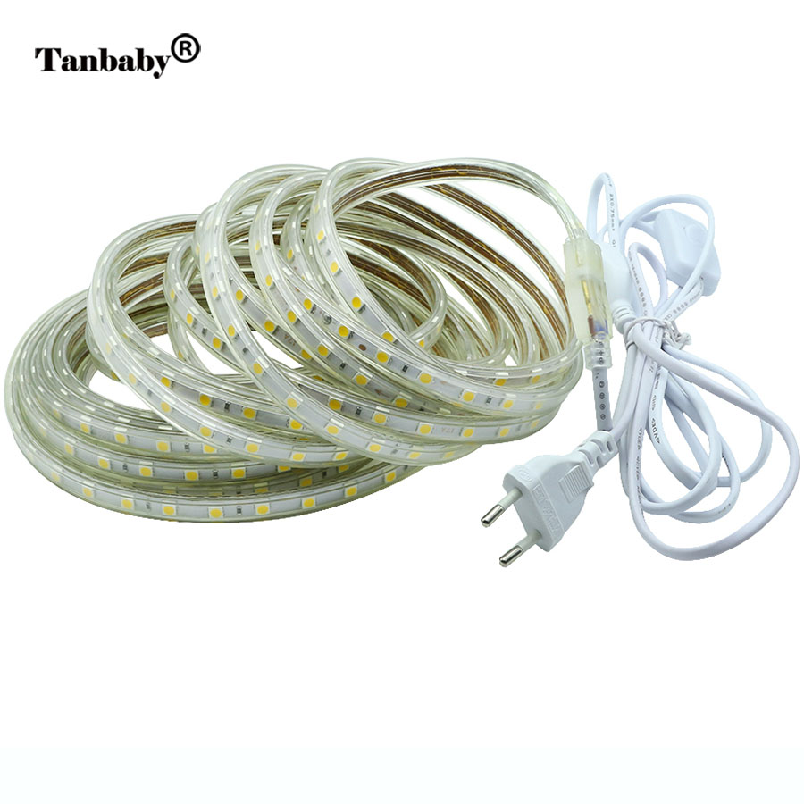 Tanbaby 10M LED Strip 220V 5050 SMD Flexible Tape Withe EU Power Plug and Switch Waterproof Lighting Ribbon indoor Outdoor decor