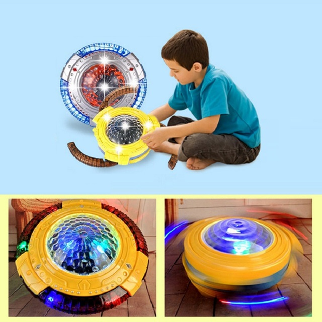 2017 New Universal Spinning Top UFO with Music and flash gyro gyroscope colorful lights LED light Toys for children Best Gift