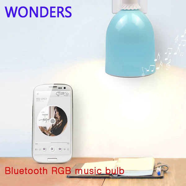 Smart bulb Wireless Bluetooth AUdio Speakers E27 LED RGB Light Music Bulb Lamp Color Changing  App Control 2017 hot bluetooth multi function audio intelligent family host background music system lcd screen touch light dimmer 2 speakers