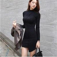 Vrouwen hot koop herfst mini jurken lange mouwen onregelmatige zwarte sexy jurk strakke slanke schede mini-jurk voor kantoor lady club
