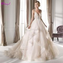 Detmgel Luxury Spaghetti Straps Beaded A Line Wedding Dresses 2020 Sexy Sweetheart Neck Appliques Backless Bridal Gown Plus Size
