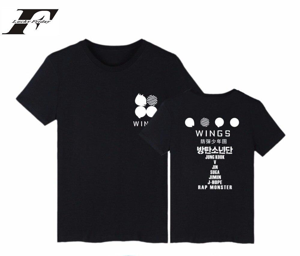 LUCKYFRIDAYF BTS Kpop Bangtan Boys T Shirt 2th Album WINGS Short Sleeve Cotton Tshirt Plus Size Harajuku Women T Shirt Camisas