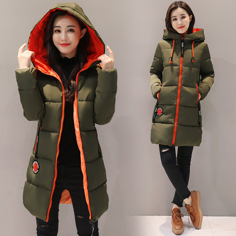 Women   Parkas   2019 Winter Cotton jacket New Thick Warm Hooded Student Coat Plus size Fashion Female Long Cotton-padded jacket Z30