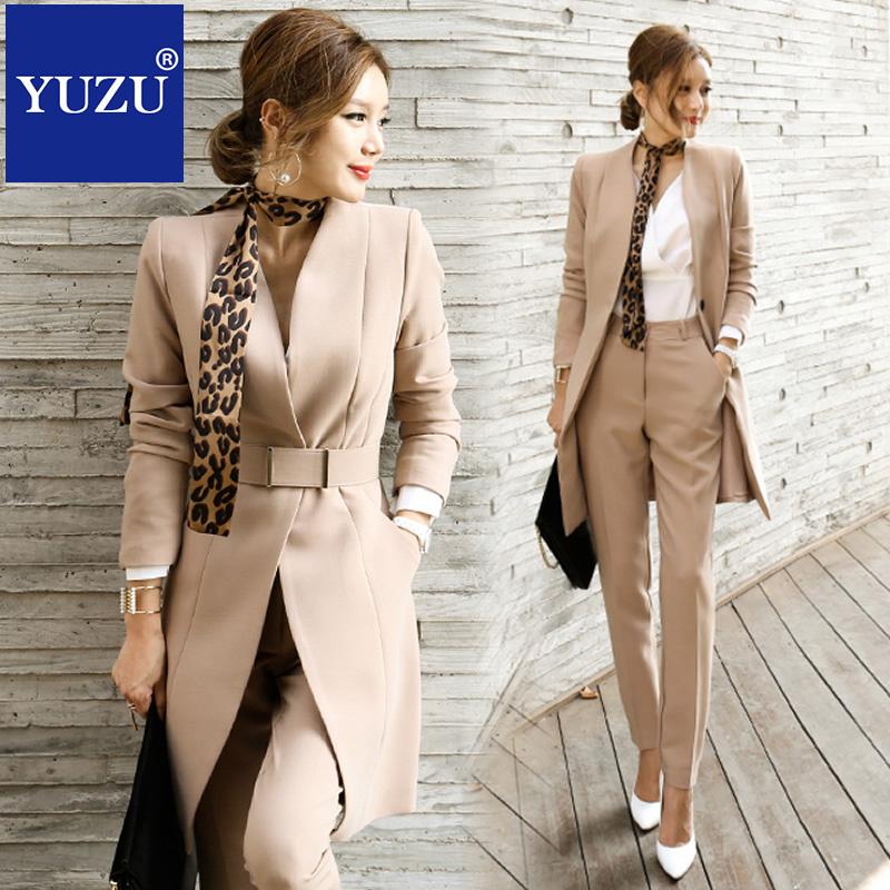 Pant Suits For Women Blazer Set Autumn Lady Business Office Work Korean Style Uniform V-neck Long Jacket Elegant Pants Suits