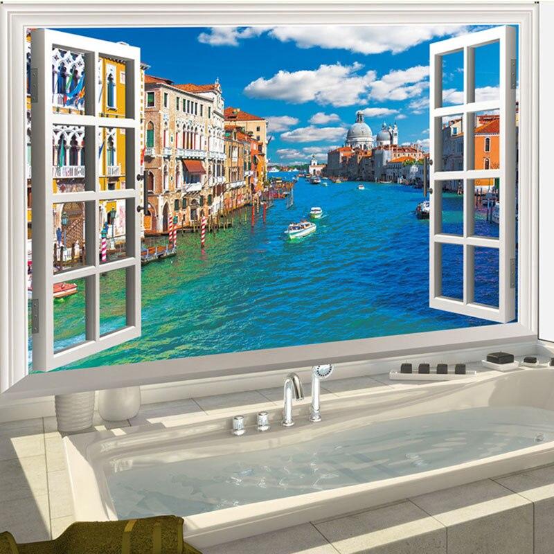3D FAI DA TE Simulazione Window Vinyl Wall Sticker Per Bambini Camere Decorazione Della Parete Della Decalcomania di Arte di Venezia Nautical Decor Rimovibile Carta Da Parati