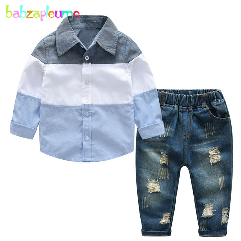 Дети Мода 2018 Демисезонный в полоску рубашка с длинными рукавами + джинсы комплекты для малышей Одежда для маленьких мальчиков детская Костю... ...