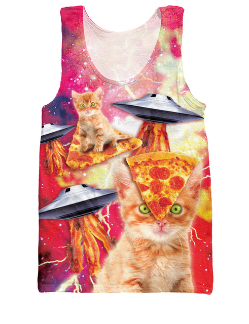 6e10031ad3 3d Bacon Pizza Space Cats UFOs Tank Top Fashion Sexy Topless galaxy  Sleeveless Jersey Vest For