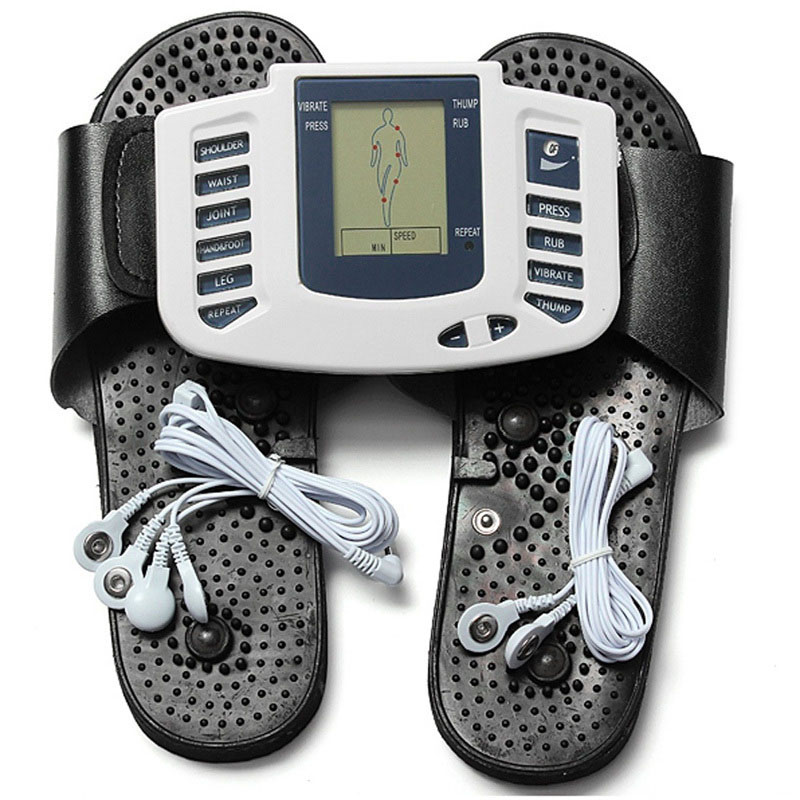 Electrical Stimulator Muscle Massager Slipper Electrode Pads Body Relax Pulse Tens Acupuncture Therapy Digital Machine H 2017 hot sale mini electric massager digital pulse therapy muscle full body massager silver